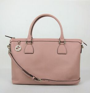 Gucci Soft Pink Leather GG Charm Convertible Straight Bag With Strap 449650 5806