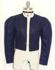 HELLER TRACHT / BLUE ~ LINEN Austria SHORT Summer Dress Suit Coat JACKET 36 4 XS