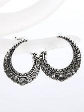 Silver Tone Wave Hoop Rhinestone Dangle Drop Women Fashion Jewelry Earrings