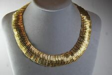 VINTAGE GOLD PLATE EGYPTIAN CLEOPATRA STYLE CHOKER NECKLACE