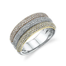 Cocktail Right Hand Wide Band 0.88 Ct 14K Tri Color Gold Diamond Pave Dome Ring