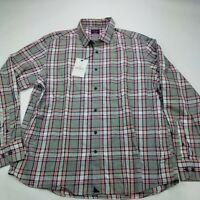 NWT UNTUCKit XXL Regular Fit Plaid Button Down Men's Shirt Gray Cotton
