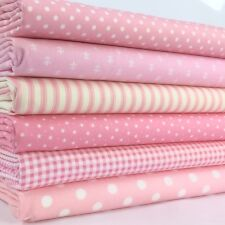6 FAT QUARTER BUNDLE Baby pink basics spots stripes plains 100 % cotton fabric