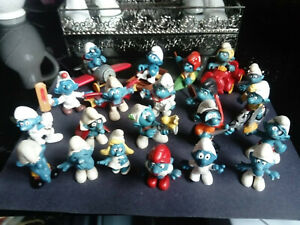 SMURFS/SCHLUMPF/SCHTROUMPF/PUFFI-SET OF 21 PRE-OWNED/PLAYWORN SMURFS