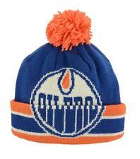 NHL Edmonton Oilers CCM Oversized Logo Cuffed Beanie Toque Pom Knit