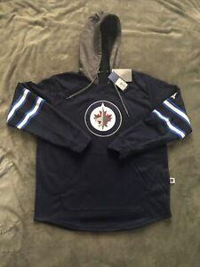 Adidas Winnipeg Jets Hooded SweatShirt Navy Blue NHL Large L NWT $100 Hoodie