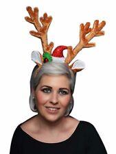 Noël Velours Marron renne bois avec Bell/Chapeau Serre-tête amusant Noël Fête