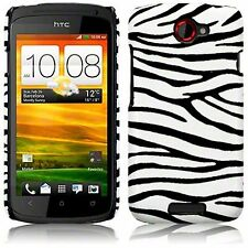 For HTC One S Zebra Skin PU Leather Hard Back Case Cover
