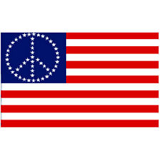 Flg004 - Us Peace Stars Flag 3x5 foot poly with grommets / resist war