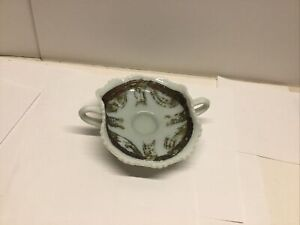 Antique Vanity Custard Uranium Glow Tray Dish Glass Design Art Nuevo
