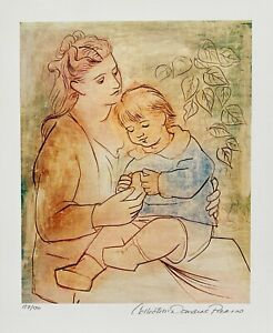 Pablo Picasso MOTHER AND CHILD Estate Signed & Numbered Small Giclee Art