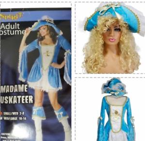 Madame Muskateer Halloween Costume Size S/M Blue Gold Wig Spirit