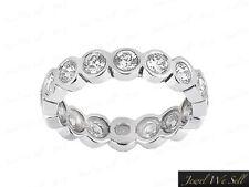 Natural 1ct Round Diamond Bezel Set Wedding Band Eternity Ring 10k White Gold