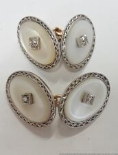 Platinum Top MOP 14K Yellow Gold Genuine Diamond Art Deco Cufflinks 8.8g