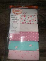 Wonder Nation ~ Bodysuits Short Sleeve Infant Pink Floral Girl's 6-Pack ~ 12M