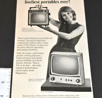 1967 Vintage Print Ad Magnavox Tubeless TV Portable Television Futura Ranger