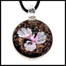Fashion Women's round lampwork Murano art glass beaded pendant necklace #A191