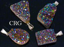 Rainbow Pink Titanium Aura Amethyst Freeform Druzy Pendant (DR46CN)