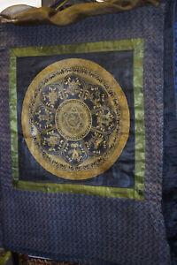 Thangka Tibet Mandala 8 buddhististische Symbole 24KtGoldminiaturmalerei 82x71cm