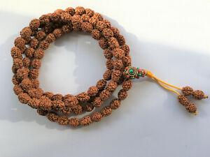 Four 4 Face Mukhi Rudraksha Prayer Mala Beads for throat chakra & intelligence
