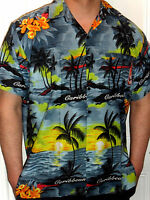 MENS SMOKEY GREY SUNSET PALM TREE TROPICAL HAWAIIAN SHIRT S M L XL XXL XXXL