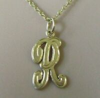 """9ct Gold Necklace - Vintage 9ct Yellow Gold letter """"R"""" Pendant & 9ct Gold Chain"""