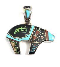 Native American Sterling Silver Navajo Handmade Multicolor Bear Pendant