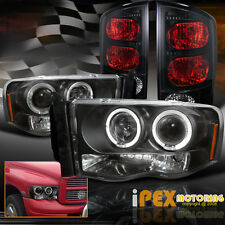 2002-2005 Dodge Ram Dual Halo Projector LED Headlights + Dark Smoke Tail Lights