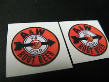 """7/8"""" PAIR CUSTOM ICE COLD A&W ROOTBEER RETRO COLA SODA PEEL-N-STICK TOY DECALS"""