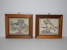 2 Vintage Framed Embroidered Cats Crewel Flowers Butterfly Cute Kittens Kitty