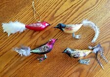 Lot of 4 Assorted Christmas Ornaments Glass Birds WithTails 3 W/ Clips & 1 Loop