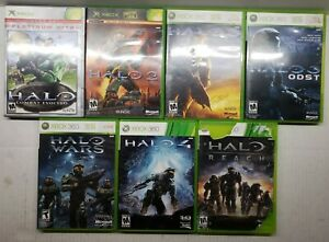 Halo 1, 2, 3, 4, Reach, ODST & Wars 7 Game Xbox & Xbox 360 Lot