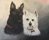 """Acrylic Painting Of Terrier Dogs 16""""x20"""" Museum Grade Canvas or Commission Work"""