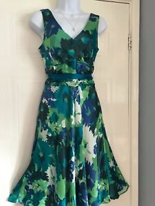 LADIES  MONSOON  STUNNING SPRING SUMMER SILK FLORAL TEA   DRESS SIZE 12
