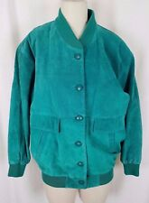 Pelle NY Bright Green LEATHER Full Button Up Bomber JACKET Womens M Knit Trim