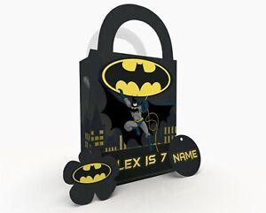 Personalised Batman Superhero Children Party Bag Gift Favour Box Treat Bag