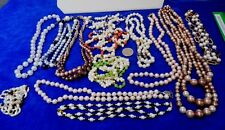 Vtg Faux PEARL Necklaces Mixed LOT 13 Beauties Colors Freshwater Japan Barrel