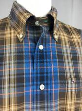 Tommy Hilfiger Men's Plaid Blue Brown Long Sleeve Button Down Collar Shirt Large