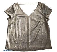 CITY CHIC Plus Size Women Short Sleeve V Neck Top Metallic Gold Size 14 XS