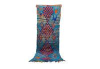 Moroccan vintage rug 3' x 8' Boucherouite rug, Boucherouit, oriental Berber rug