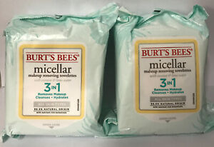 2 NEW Burts Bees Micellar Makeup Removing Towelettes with Coconut & Lotus Water
