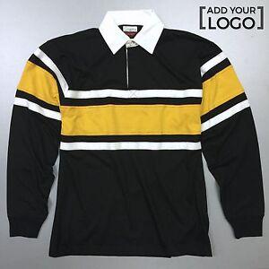 Hard Wearing Long Sleeve Rugby Shirts, Black/Yellow Strip | Kids Kit Sizes