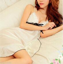 Women Babydoll Sexy White Satin sleek Sleepwear Cami Strap Nighties sleep Dress