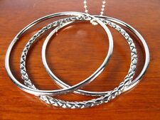 H1 Silver Tone Triple Bangle BRACELET Set Textured NEW