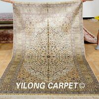 Yilong 5'x8' Great Middle Silk Rugs Hand Knotted Medallion Carpets Handmade 1030
