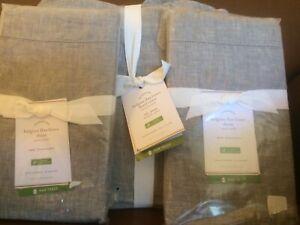 POTTERY BARN Belgian Flax Linen FULL/QUEEN Duvet & 2 Shams NEW - Flagstone Gray