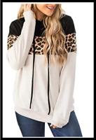 Women's Leopard Camo Long Sleeve Hoodie Tops Sweatshirt Hooded Jumper Pullover