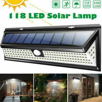 118 LED Solar Power Light PIR Motion Sensor Wall Lamp Outdoor Garden Waterproof