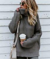 Winter Women Oversize Chunky Ladies Top Knit Jumper Sweater Turtleneck Knitwear