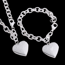 Heart Photo Locket Bracelet and Necklace Set 925 Sterling Silver NEW